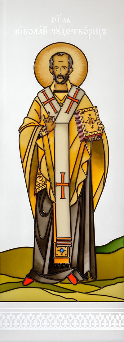 św. Mikołaj Witraż malowany