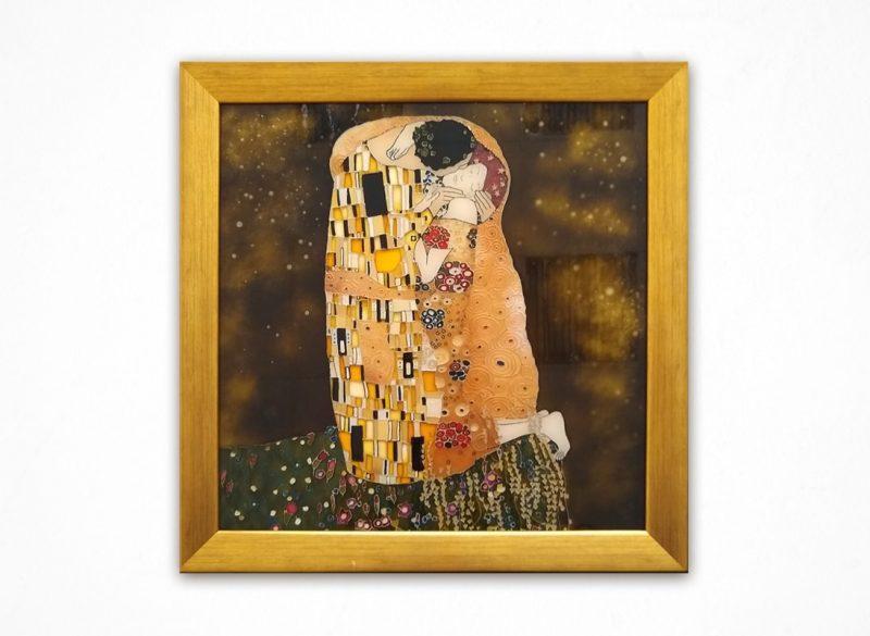 Pocałunek - witraż malowany